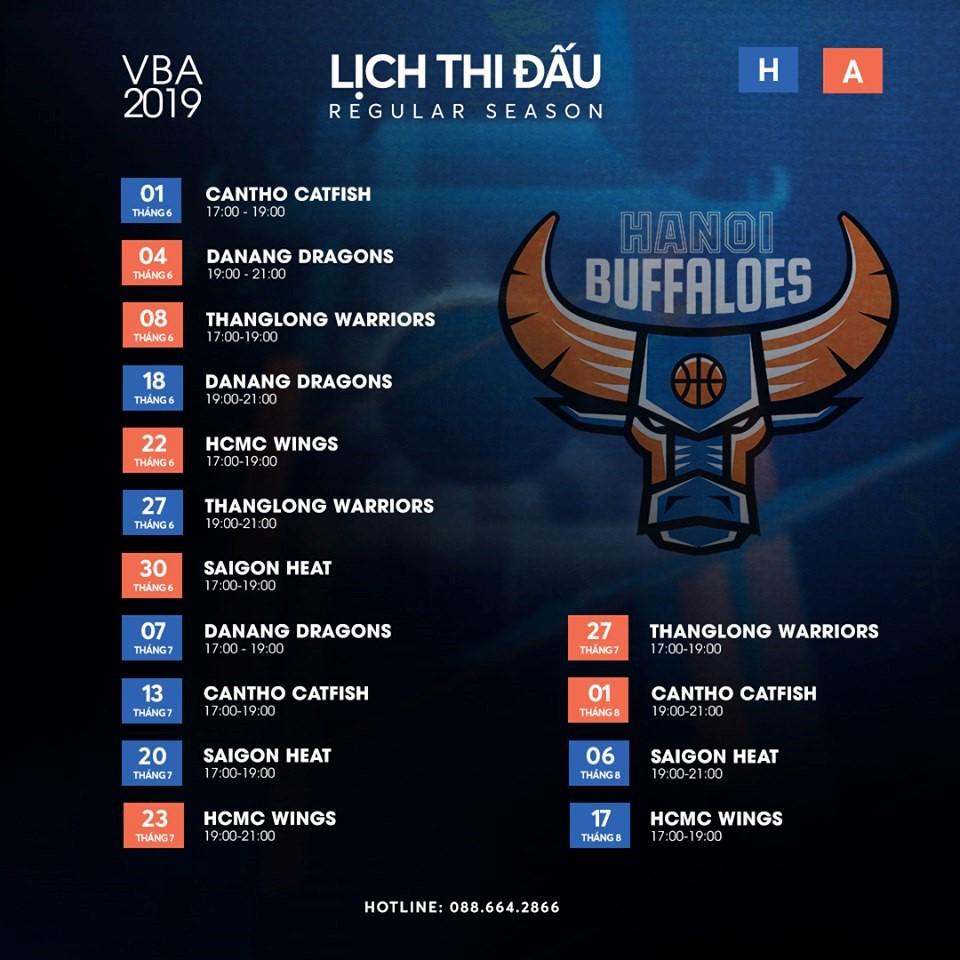 Lịch thi đấu sân nhà của Hanoi Buffaloes tại mùa giải VBA 2019